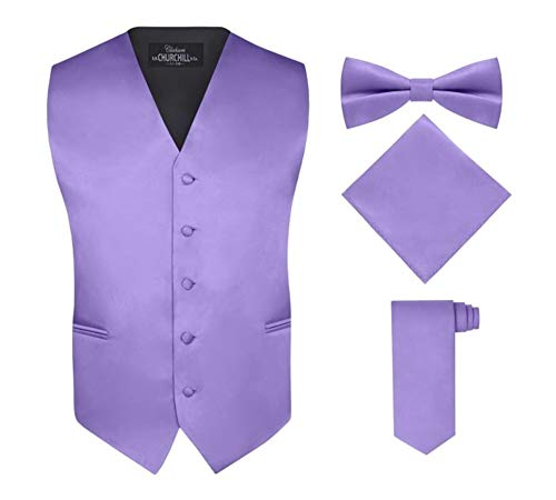 Men's 4 Piece Vest Set, with Bow Tie, Neck Tie & Pocket Hankie - Purple, S