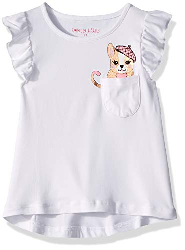 (Colette Lilly Girls' Toddler Short Sleeve Knit Top, White Puppy, 4T)