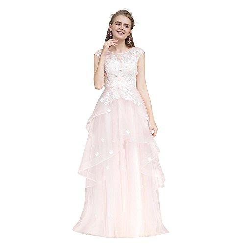 Goddess Formales De Rosa Personalizada Fiesta Vestidos longitud 16 Elegante Vestido Piso Dulce Noche Banquete Encaje Sun Appliques ZBpSqdZ