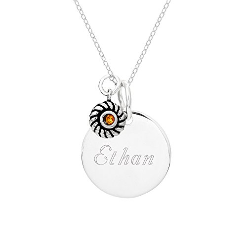 d Tag Pendant with Charm (Sterling Silver Round Tag Pendant)