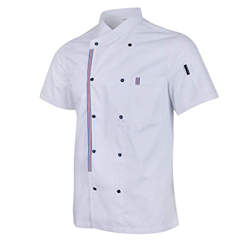 Homyl Solid Double Breasted Chef Jackets Coat Short Sleeves Shirt Kitchen Uniforms For Women Men White M