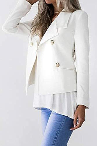 Cappotto Sudore Donna Button Moda Classiche Chic Puro Giacche Giacca Ragazza Autunno Con Colore Primaverile Fit Lunga Vintage Slim Blazer Bianca Manica Eleganti Corto Da Tailleur BWz7U60Br
