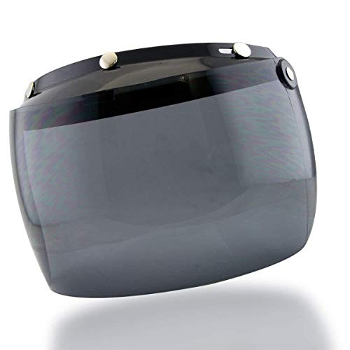 Outlaw Universal 3 Snap-Button Visor with Flip-up Dark Tint Shield for Open Fac - One Size