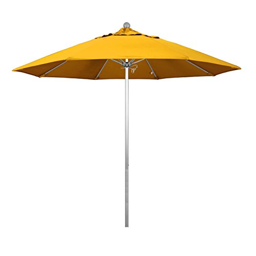 9' Silver Aluminum Pole - Phat Tommy 9 Ft Silver Anodized Commercial Patio Market Umbrella - For Shade, Yellow