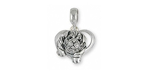 Bulldog Jewelry Sterling Silver Bulldog Charm Slide Handmade Dog Jewelry BD29S-PNS