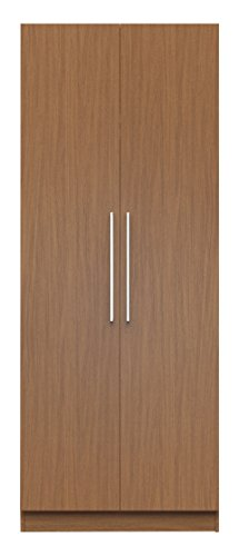 Manhattan Comfort Chelsea Double Hanging Closet 2.0 Collection Stand Alone Clothing Wardrobe Cabinet with 2 Hanging Rods and 1 Storage Shelf, 35″ W x 21″ D x 90″ H, Maple Cream
