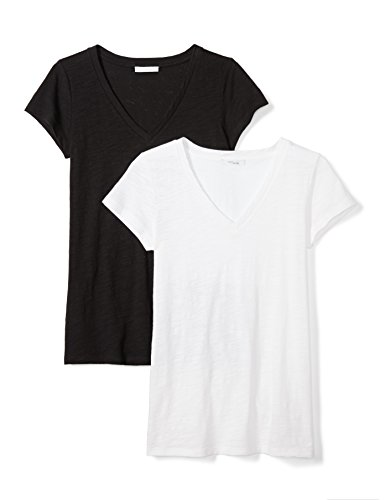 Daily Ritual Women's Vintage Cotton Slub Short-Sleeve V-Neck T-Shirt, 2-Pack, L, Black/White