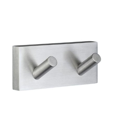 Smedbo House Double Towel Hook RS356 Brushed Chrome.Include Glue.Fixing Without Drilling