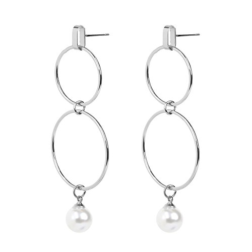 Softmusic Women Simple Circle Faux Pearl Dangle Earrings Creative Banquet Cocktail Accessory Silver