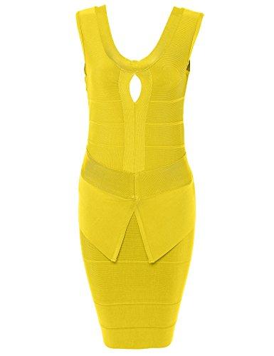 Party Bodycon Women's Bandage Out Yellow Dress Meilun Club Hollow qwgIawz1