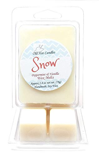 (Snow Scented Wax Melts. Vanilla and Peppermint. Soy Wax Cubes for Warmers)