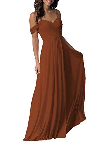 Copper Wedding Bridesmaid Dresses Long Cold Shoulder Chiffon Formal Party Dress for Petite Women