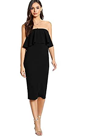 172031ffa0f Image Unavailable. Image not available for. Color  Romwe Women s Ruffle  Strapless Bodycon Tube Stretchy Party Dress Black XS