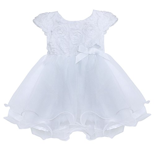 Freebily Infant Baby Girl Dress Short Sleeve Rose Baptism Christening Pageant Party Wedding Flower Girl Dress White 12-18 Months