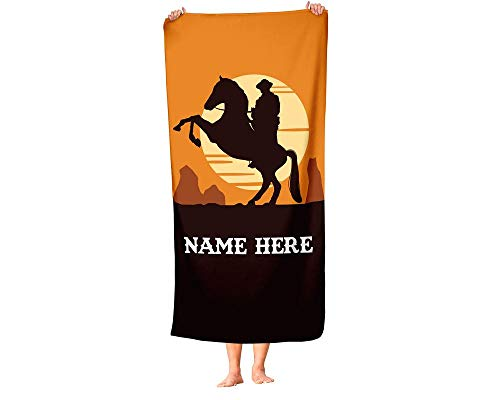 Extra Large Personalized Cowboy and Horse Towel for Kids - Oversized Custom Travel Beach Pool and Bath Towels for Adults Toddler Baby Boys Girls (Cowboy Baby Towel)