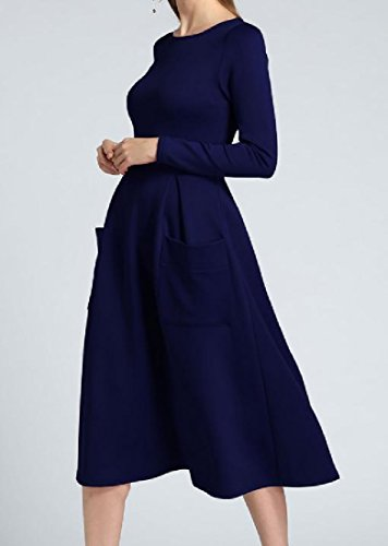 Long Solid Length Blue Zip Comfy Dress Womens Pockets Colored Full Up Sleeve wa4aqpY5n