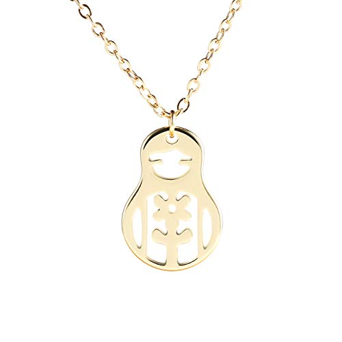 NOUMANDA Cute Delicate Russian Doll Necklace Fashion Hollow Copper Pendant Jewelry (Gold) ()