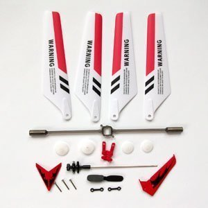 SYMA Wheel Gear Set Wings Tail Props Balance Bar Full Replacement Parts Set for Syma S107 RC Helicopter(Set of 19,Red)