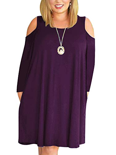 Nemidor Women's Cold Shoulder Long Sleeve Plus Size Casual T-Shirt Swing Dress with Pockets (18W, Purple+Sleeve)
