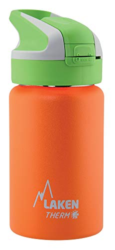 Laken Thermo Summit Stainless Steel Insulated Water Bottle, Sport Straw Cap w/Lock, Leakproof, 12oz, Orange (Best Water Bottle With Straw 2019)