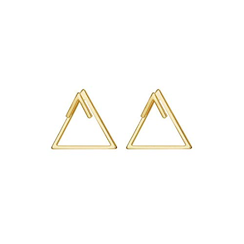 LOYATA Open Triangle Geometric Earring, 14K Gold Plated Unique Piercing Stud Earring Ear Jacket Dangle Earrings for Women