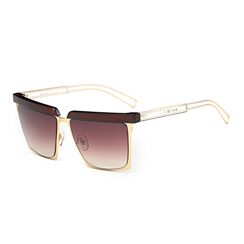 Cool Oversized Mirrored Flat Top Sunglasses Square Aviator Shades D79(Gradient - Face For Small Best Aviators