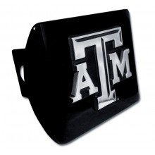 "Texas A&M University Aggies ''Black with Chrome ""ATM"" Emblem'' NCAA College Sports Metal Trailer Hitch Cover Fits 2 Inch Auto Car Truck Receiver by Elektroplate"