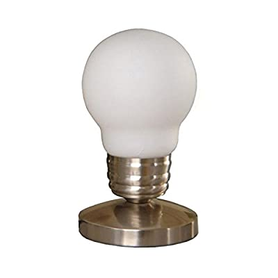 Simple Designs Idea Bulb Mini Touch Lamp - Round metal base in satin nickel finish Transitionally styled mini touch lamp with 5-ft. cord Bulb-shaped glass shade in white - lamps, bedroom-decor, bedroom - 31k iypZQsL. SS400  -