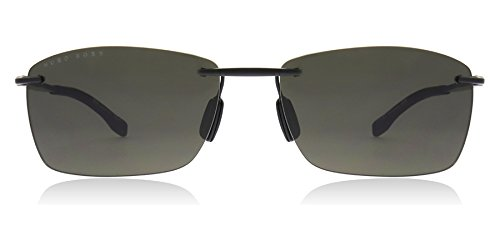 Hugo Boss 0939/S 2P6 Black Rubber 0939/S Rectangle Sunglasses Lens Category 3 - Boss Womens Hugo Sunglasses