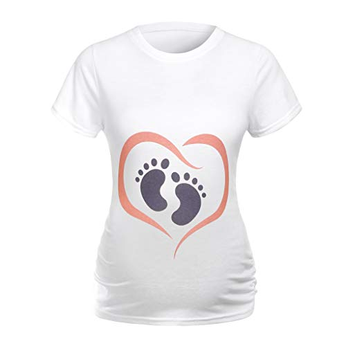 (COLNER Pregnant Women Short-Sleeved Round Neck Print Cartoon Simple Solid Color t-Shirt (White, M))