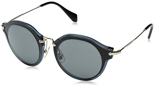 Miu Miu Women's 0MU 51SS Black/Grey - Miu 49mm Miu Sunglasses Round