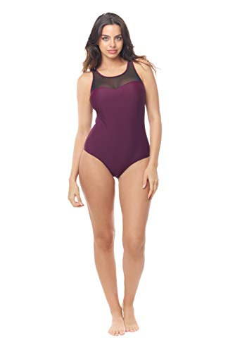 Love My Curves Burgundy Mesh One Piece Bathing Suit with Keyhole Open Back (Size 14)