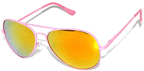 Aviator Style Sunglasses Pink Metal Frame with Lens Gold-Red Color Spring Hinge ()