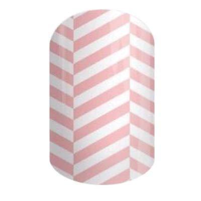 Jamberry Nail Wraps - Herringbone Twist - HALF Sheet - Pink & White Geometric