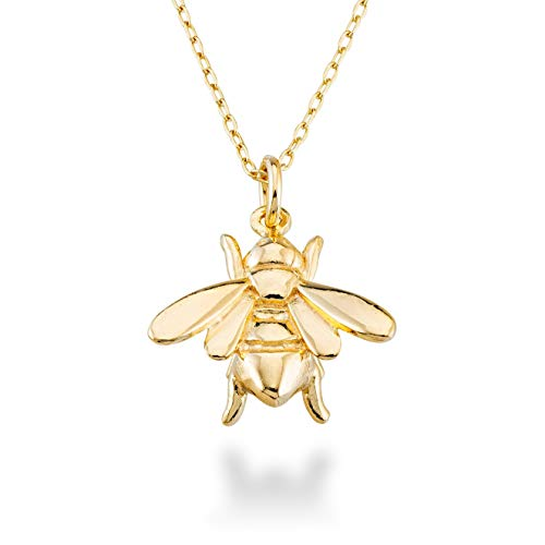 (MiaBella 925 Sterling Silver Italian Bee Charm Pendant Necklace Jewelry for Women Teen Girls, Choice of White or 18K Yellow Gold Over Silver, 18