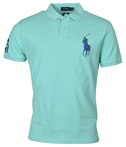 Polo Ralph Lauren Mens Big Pony Custom Slim Fit Mesh Polo Shirt (Large, Green) ()