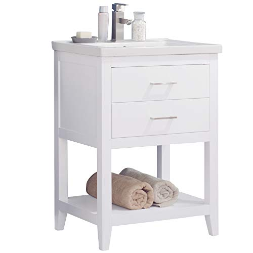 """LC24FWP Dublin 24"""" Bathroom Vanity Set in White Made with Hardwood and Integrated Porcelain Top"""