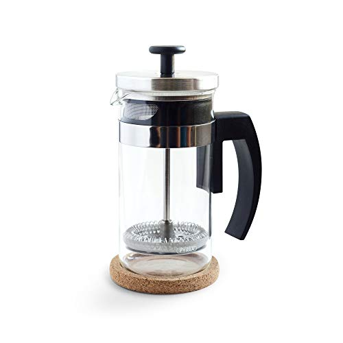 French Press Pyrex - Brillante Small French Press Coffee Maker with 12 Ounce Glass Beaker - Single Serve Cafetiere and Tea Maker BR-CP1-350