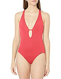 Women's Plunging V-Neck One-Piece Swimsuit with Removable Soft Cups