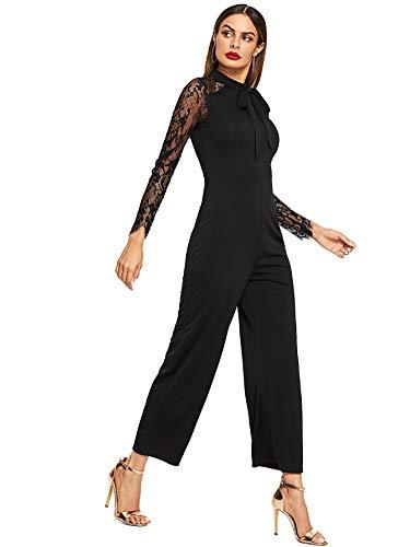 b6abfe9c2f91 Romwe Women s Elegant Solid Lace Sleeve Bow Tie Skinny Stretch Jumpsuit  Romper