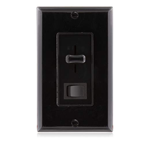 (Maxxima 3-Way/Single Pole Dimmer Electrical Light Switch 600 Watt max, LED Compatible, Wall Plate Included - Black)