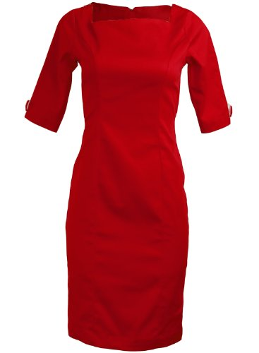 Red Rockabilly Secretary Pinup Wiggle Pencil 3/4 Sleeve Women's Dress - Medium(FBA) (Dress Sailor Wiggle)
