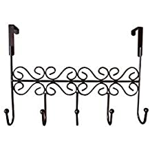 Charming Obmwang Over The Door 5 Hook Rack   Decorative Organizer Hooks For Clothes,  Coat, Hat, Belt, Towels   Stylish Over Door Hanger For Home Or Office Use L  X W ...