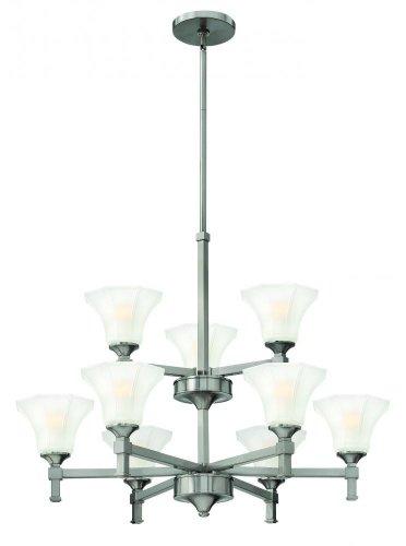 Hinkley 4048BN, Abbie Large Glass 2 Tier Chandelier Lighting, 9 Light, 900 Watts, Nickel