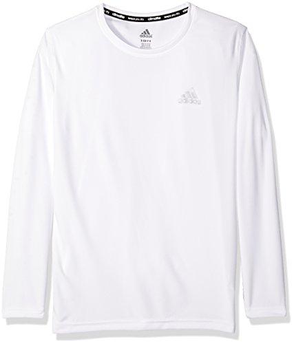 adidas Big Boys' Essential Clima Long Sleeve Tee, White, Large/14-16