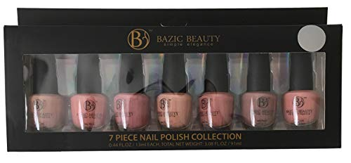 (7 Full Size Bottles Glossy Matte (not Pearl or Metallic) Pink Rose Mauve Nude Natural Taupe Nail Polish Gift Set Collection)