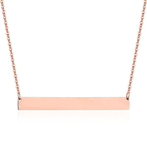 Engravable Rose (Lazycat Stainless Steel 18K Plated Bar Necklace with Engravable Bar Pendant (Rose Gold))