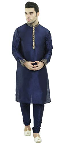 Indian Kurta Pajama Handmade Long Sleeve Hook & Eye Shirt Traditional Blue Summer Dress -L by SKAVIJ
