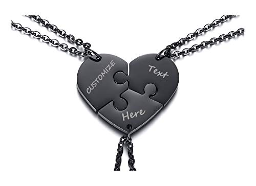 XUANPAI Stainless Steel Personalized Puzzle Necklace 3 Piece Best Friends BFF Friendship Pendant Puzzle Piece Set,Black