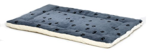 Midwest Quiet Time 17-By-11-Inch Paw Print/Fleece Reversible Pet Bed, Blue, My Pet Supplies